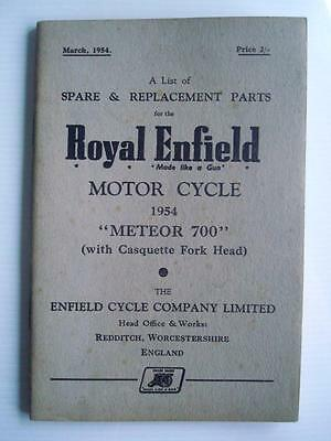 ROYAL ENFIELD METEOR 700 - Motorcycle Spares List - Mar 1954 - #M-354