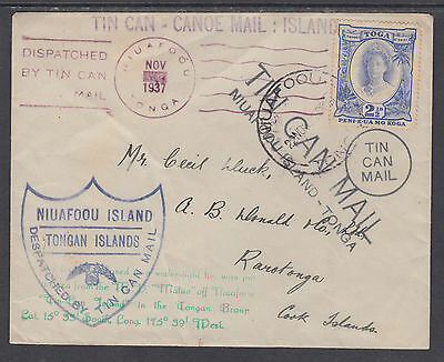 Tonga Sc 58 on 1937 Tin Can Mail Cover to Cook Islands