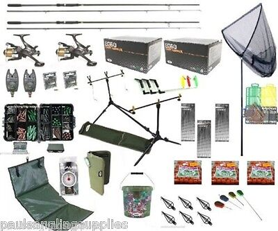 Lineaeffe Full Carp Fishing Set Up Kit Rods Reels Alarms Bait Tackle Mat