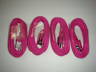 4x 2M/6Ft USB Data Sync Charger Cable For iPhone 5/5S/5c/iphone6 6 plus Hot Pink