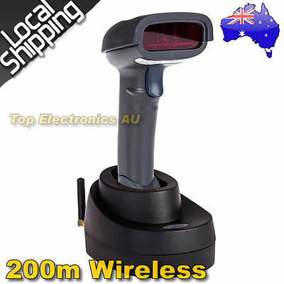 2016 Wireless Laser USB Barcode Scanner Handheld+Contact Base Holder 200M Max