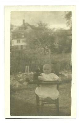 Real Photo Postcard with Cute Baby in High Chair Outside RPPC