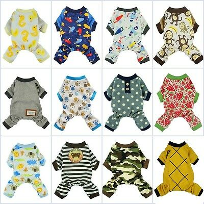 Fitwarm Boy Cotton Dog Clothes Pattern Pet Shirt Cat Pajamas Jumpsuit XS S M XL