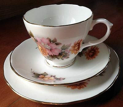 Vintage Duchess Bone China Cup, Saucer, Plate Trio, Pink & Yellow Flowers (1014)