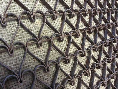 Vintage Metal Linked Floor Mat Heart Design > Antique Old Welcome RARE! 8739
