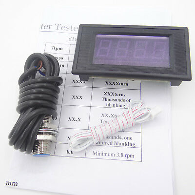 4 Digital Red LED Tachometer RPM Speed Meter with Hall Sensor NPN