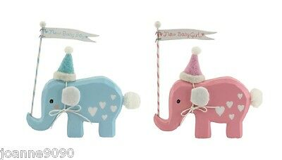 Gisela Graham Pink Blue Wooden Elephant Baby Ornament Christening Nursery Gift