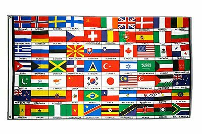 70 Countries of the World FLAG  Banner 90x150cm - 5ftx3ft