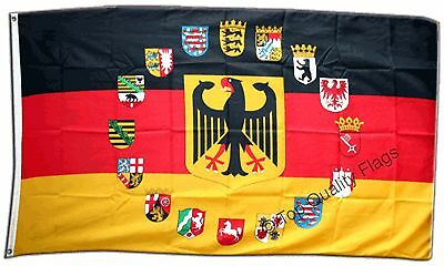 Germany with 16 crests FLAG german Banner 90x150cm - 5ftx3ft