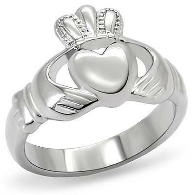 Stainless Steel Irish Heart Claddagh Promise Friendship Crown Band Ring 5-10