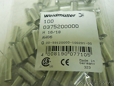 Lot of (100) New Weidmuller H 16.0/18 Wire End Uninsulated Ferrules, 0375200000