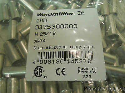 New Lot of (100) Weidmuller H 25/18mm Wire End Ferrules, 0375300000