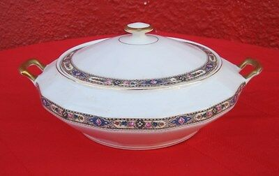 "Vintage Edwin Knowles Vitreous Porcelain Covered Dish w/ Lid Tureen Bowl 10.5""✞"