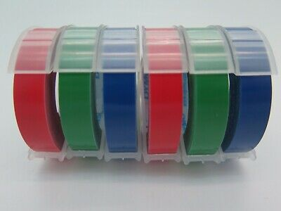6 Pk Dymo Xpress Embossing Tape 9mm x 3M Assorted (2 x Red Blue Green) 1741671