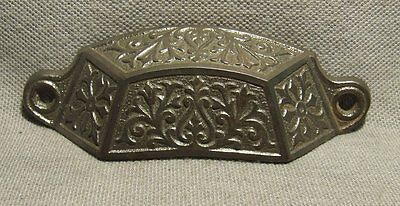 Antique Cast Iron Bin / Drawer Pull, Cabinet Handle Restoration Authentic HW-023