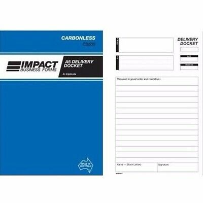 5 x Impact Upright Delivery Docket Book Carbonless 210x145 Triplicate CS535