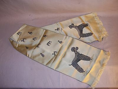 Very Cute Vintage Childrens Silk Coat Scarf Decorated w Dog Poodle L@@K