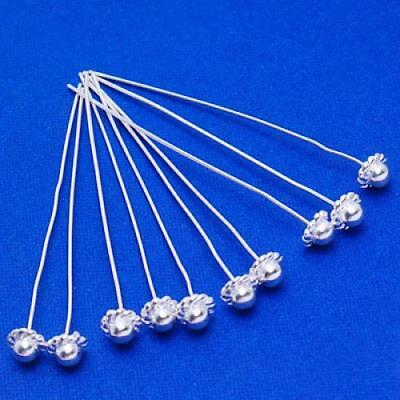 10pcs Silver Plated Daisy Flower Head Pins Headpins Jewelry Findings 50mm Long