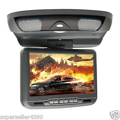 """Gray 9"""" inch Car Roof Mount Ovehead Flip Down DVD CD FM Player Video IR Game"""