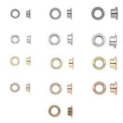100 Plated Glue in Grommet Rivet Eyelet Findings For Large Hole Bead Centers