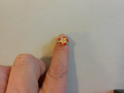 Paparazzi Kids Starlet Shimmer Ring(new) GOLD & RED FLOWER