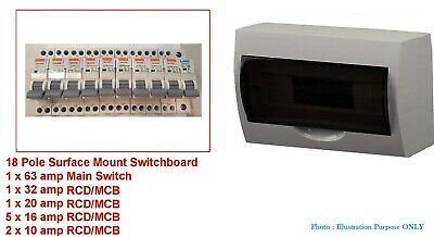 18 Pole Way Distribution Sub Board Switchboard Safety RCD MCB RCBO Main Switch