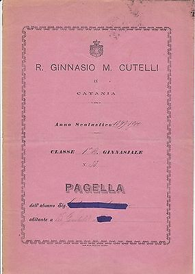 R. Ginnasio M. Cutelli In Catania - 1900 - Pagella Scolastica