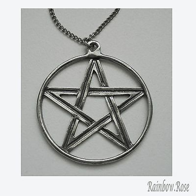 Chain Necklace #341 Pewter Pentagram in circle - 40mm wide