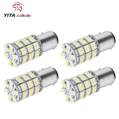 4x 1157 BAY15D 60 SMD Pure White LED Tail Brake Stop Turn Signal Light Bulbs 12V