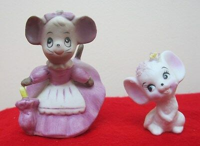 2 Pc Lot Vintage Miniature Mom Mouse Mice & Baby Girl Mouse Hand Painted Japan✞