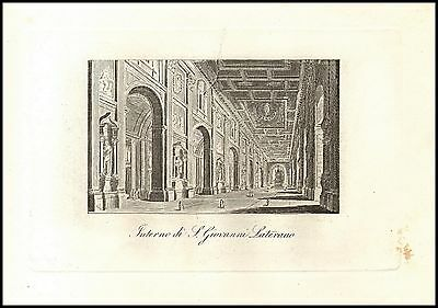 Roma San Giovanni In Laterano Interno Basilica Stampa Originale 1800
