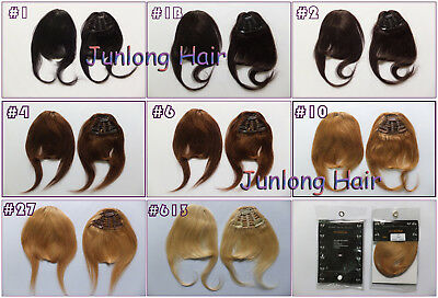 3Clips Fringes Remy Virgin Clip In Real Human Hair Extensions Bangs Front Side