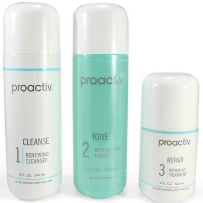 Proactiv 3 Piece Set 120 Day Kit cleanser toner lotion 240 ml proactive 5/18 exp
