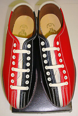 Mens Bowling Shoes Rental Lace to Toe RH/LH Red & Black Leather Soles FREE SHIP