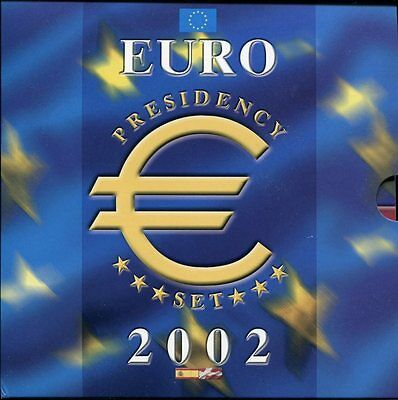 EURO PRESIDENCY SET 2002 - KMS mit 12 x 1 Euro in stgl. + 2 Medaillen plus CD!