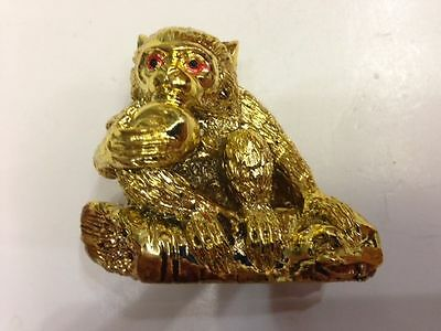 Feng Shui Chinese Zodiac Sign Ally Monkey Statue Figurine Golden Color