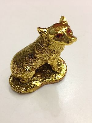 Feng Shui Chinese Zodiac Sign Ally Dog Statue Figurine Golden Color