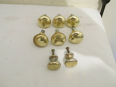 Vintage Set of 6 Brass Large Knobs and 2 Small Ones for Dresser VFC with Screws