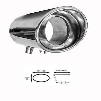 'DYNAMIC P' OVAL STAINLESS STEEL EXHAUST TIP WITH FRONT PLATE - Fits 55-80mm