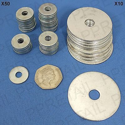 STEEL REPAIR PENNY WASHERS 10x LARGE 50mm ~ 50x SMALL 20mm Wide/Thick/Flat/Plate