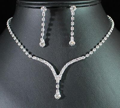 Elegant Clear Austrian Rhinestone Crystal Necklace Earrings Set Bridal N1277