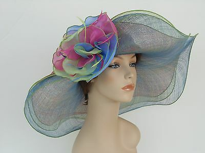 New Woman Church Derby Wedding Sinamay 3 Layers Dress Hat 2397 Green Multicolor