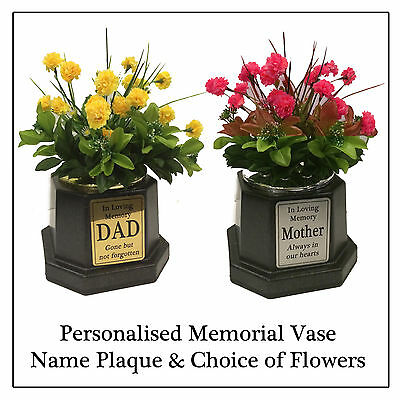 Personalised Black Memorial Pot Vase, Silver Plaque & Carnation Grave Flowers