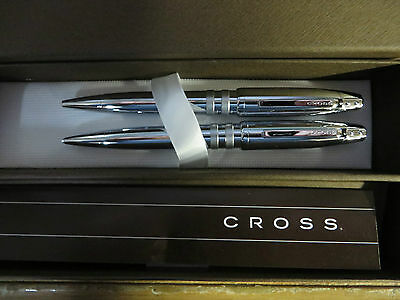 Cross Mason Executive Chrome with Satin Rings Ballpoint Pen and 0.7mm Pencil Set