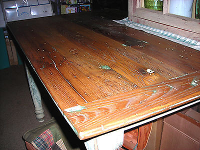 """Antique  Hand  Crafted """"American Chestnut"""" Wood  Primitive Country Farm Table"""