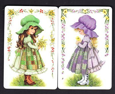 Vintage Swap/Playing Cards - Pretty Girls with Flowers x 2 (MINT CONDITION)