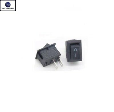 2 Mini Interruttore rocker unipolare 3A 250V pannello 2 pin contatti ON OFF nero