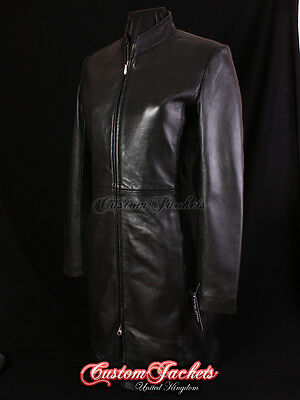Ladies VICTORIA Leather Jacket Black Fitted Slim Stylish Long Sexy Leather Coat