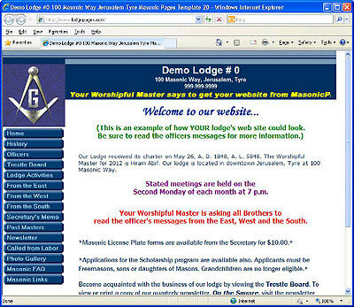 Masonic Lodge Website Design and Hosting, One Year Subscription