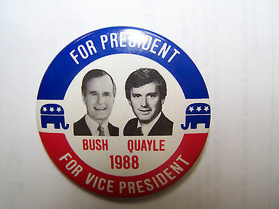 Bush Quayle for President & Vice President 1988 Political Button! Look!